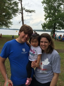 With mommy and big brother on field day, May 2014